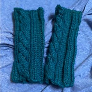 Homemade knitted hand warmers